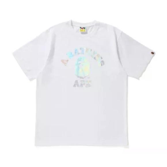ec7166e8 Bape Tops   White Hologram College Tshirt   Poshmark